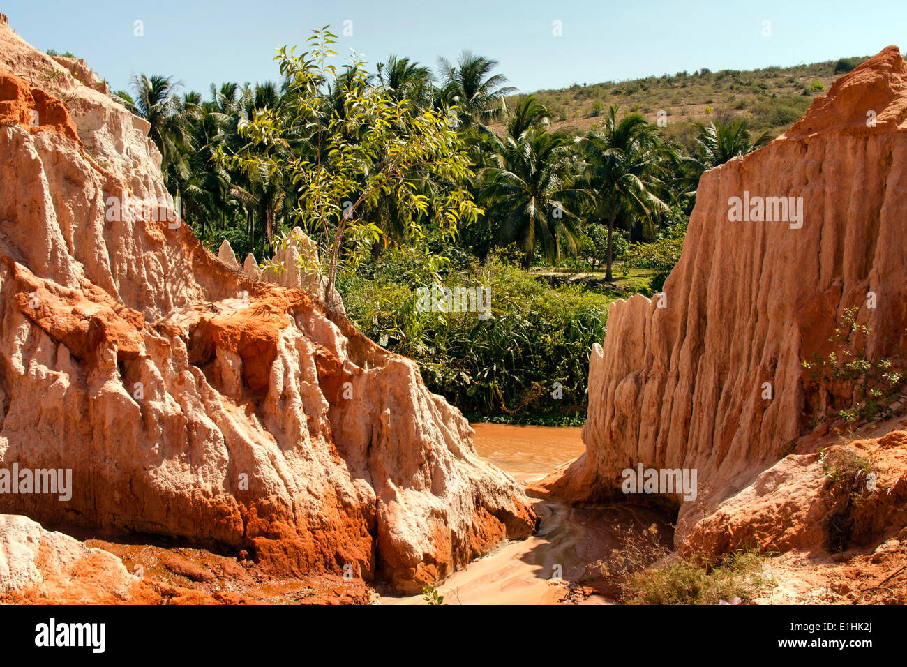 Red River Canyon, sandstone, river bed, near Mui Ne, South Vietnam, Vietnam Stock Photo