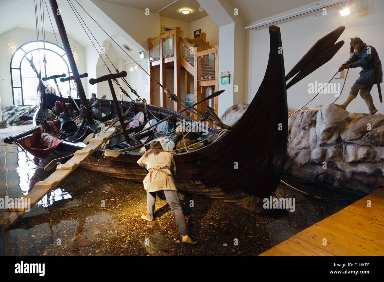 Odin's Raven Viking longboat replica at the House of Manannan, Peel, Isle of Man - Stock Image