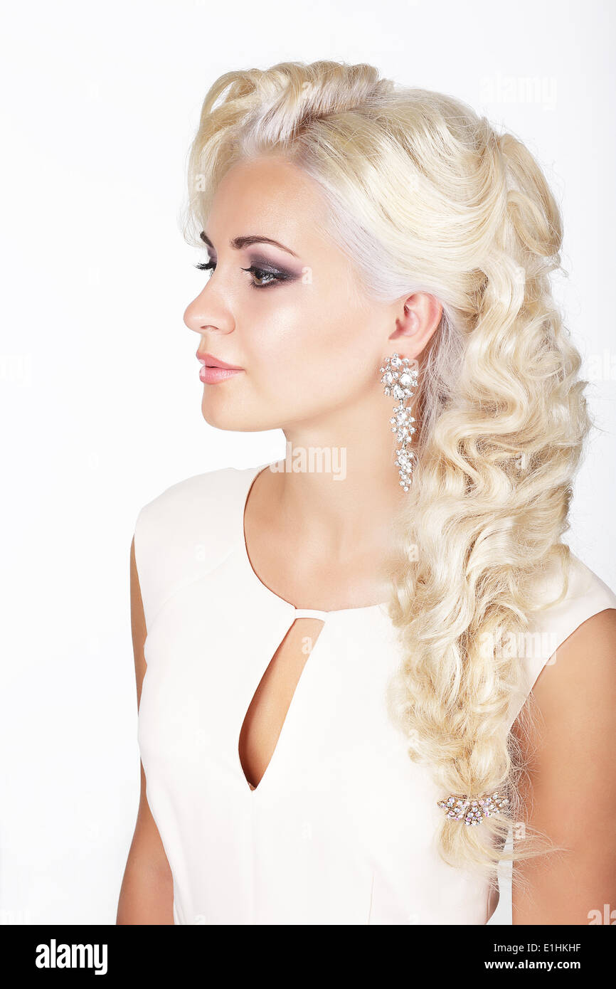 Portrait of Ash-Colored Braided Stylish Woman - Stock Image