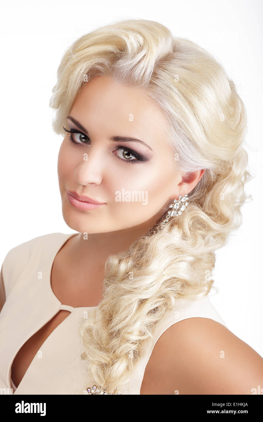 Portrait of Young Glamorous Blond with Tress - Stock Image