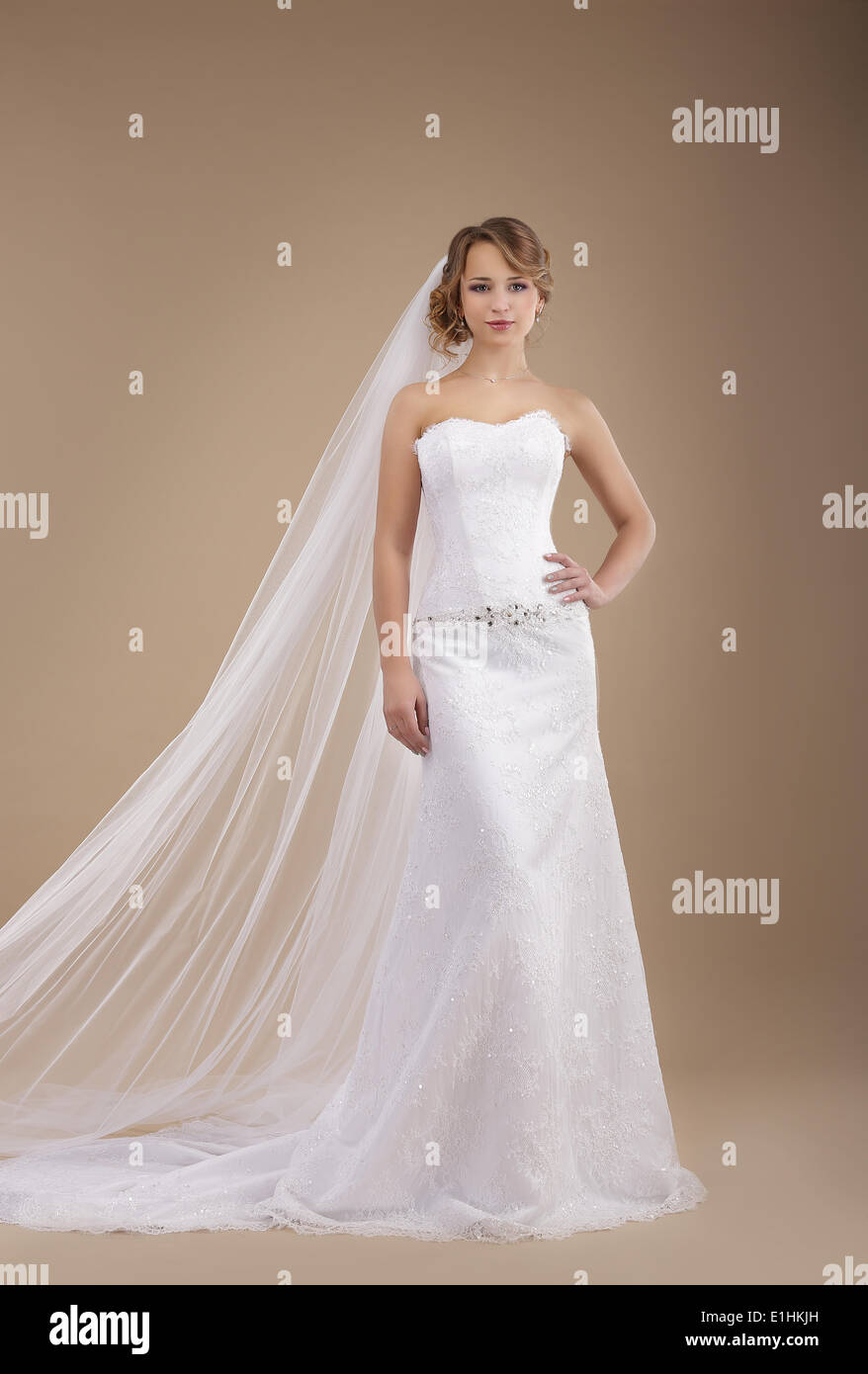 Engagement. Bride wearing Sleeveless Ivory Dress and Veil - Stock Image