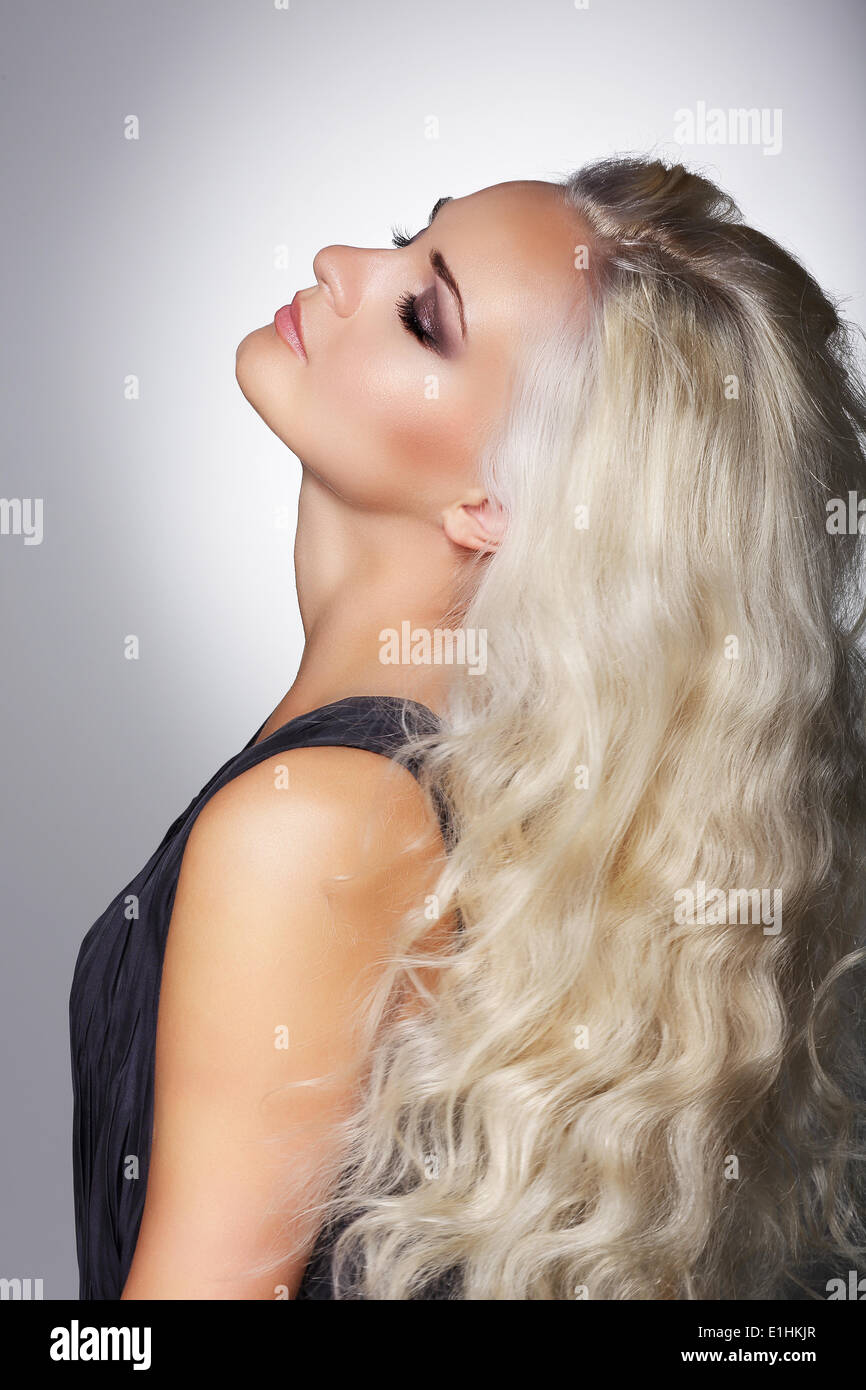 Dreaminess. Gentle Woman Blonde with Closed Eyes in Reverie - Stock Image