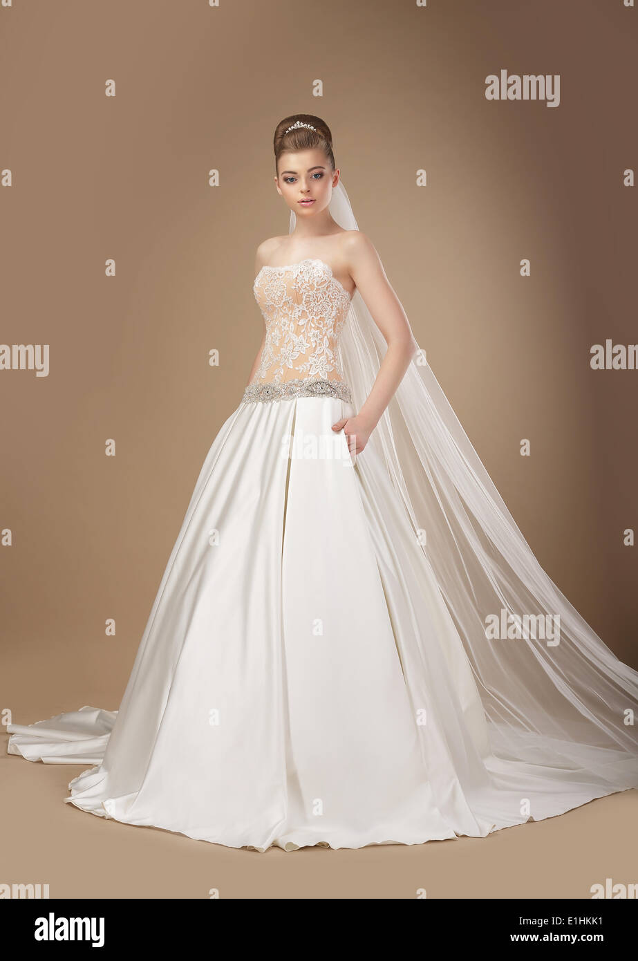 Sophisticated Slender Woman in Long Elegant Dress posing Stock Photo