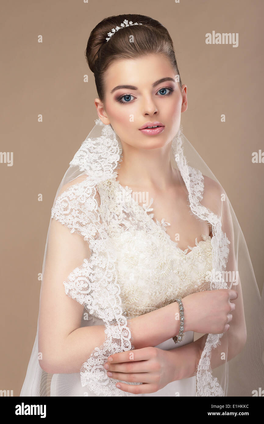 Beautiful Woman with Jewelry - Platinum Diadem - Stock Image