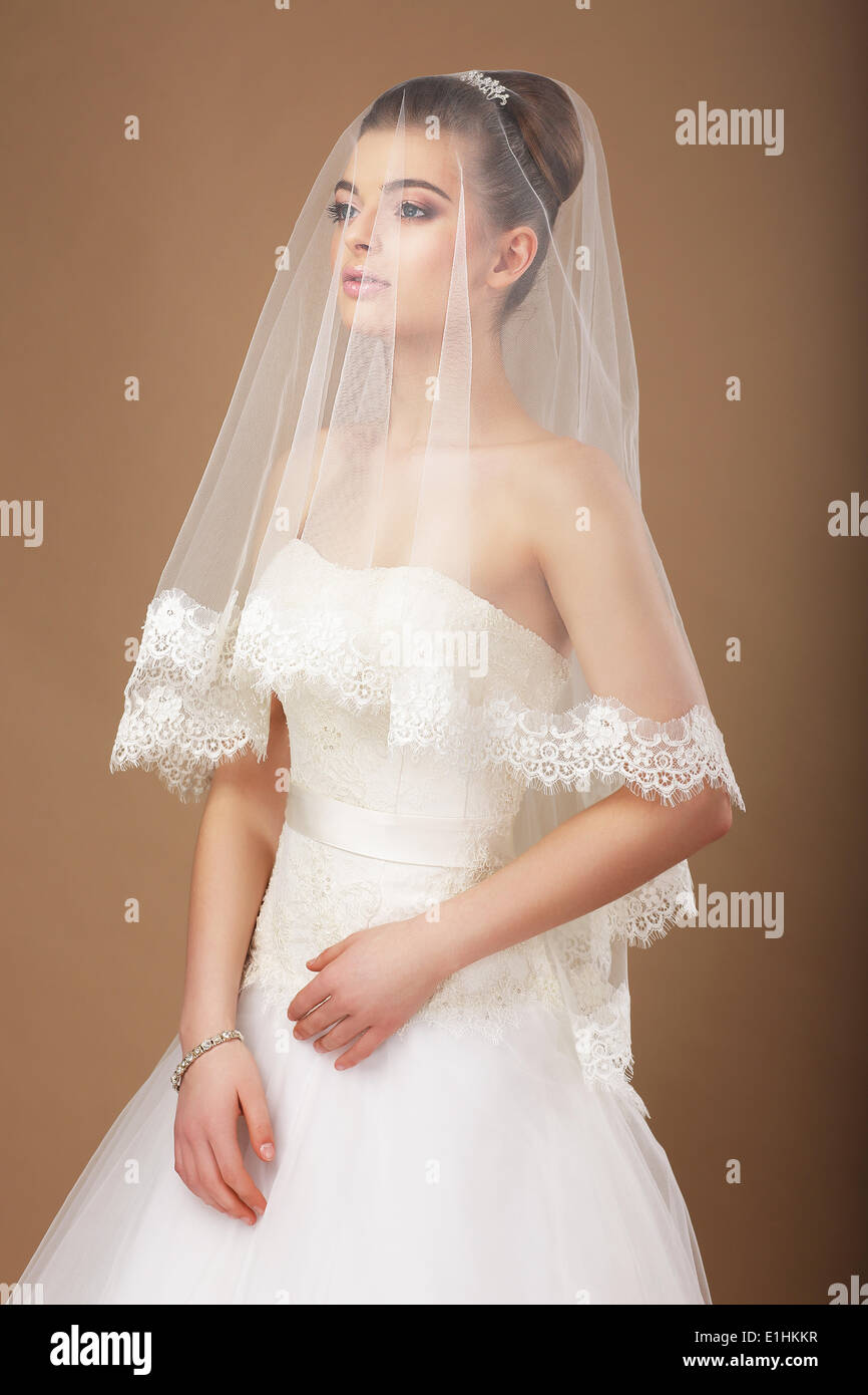 Sensuality. Woman with Transparent Wedding Veil - Stock Image