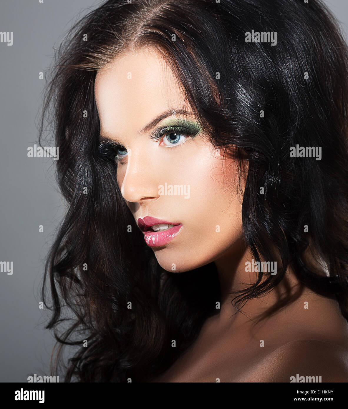 Fascination. Sophistication. Profile of Luxurious Lovely Brunette - Stock Image