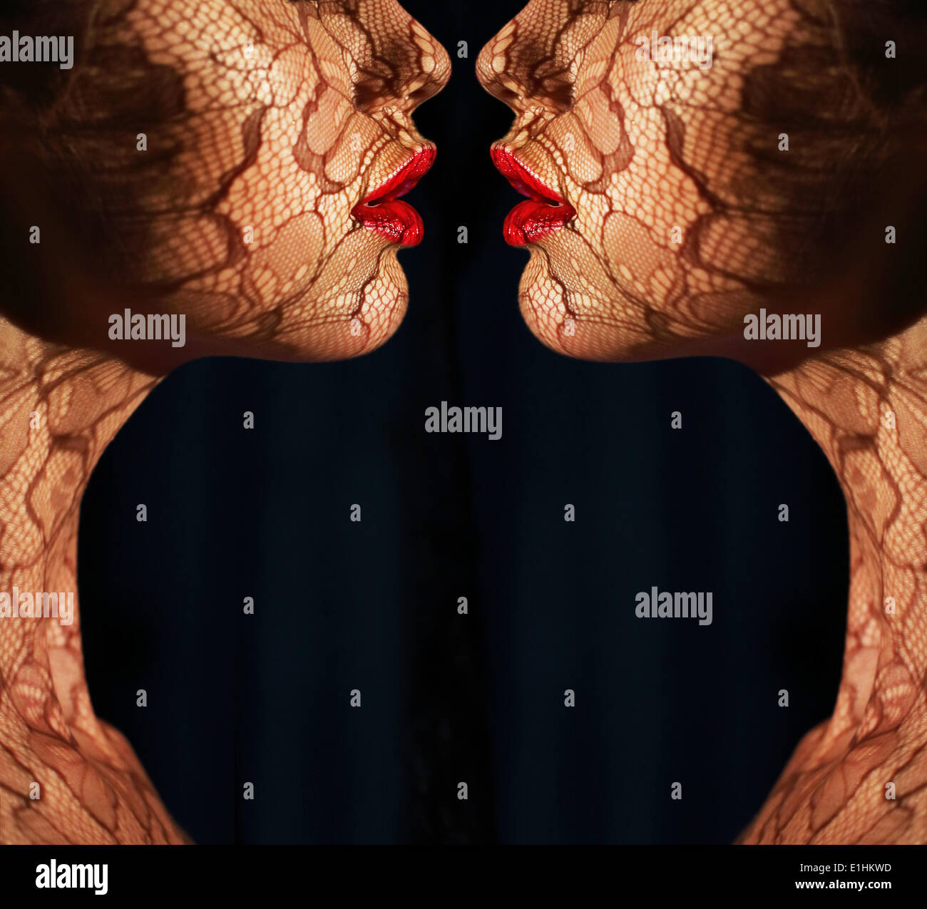 Fantasy. Two Women's Faces with Tracery Opposite each other. Reflexion - Stock Image