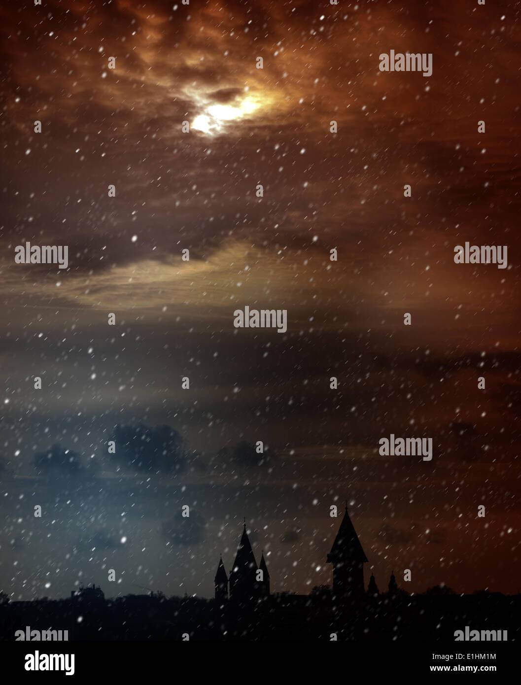 Twilight. Mysterious Scenic Landscape with Spooky Cloudy Moon - Stock Image