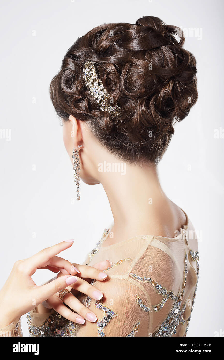 Refinement and Sophistication. Stylish Woman with Festive Coiffure - Stock Image