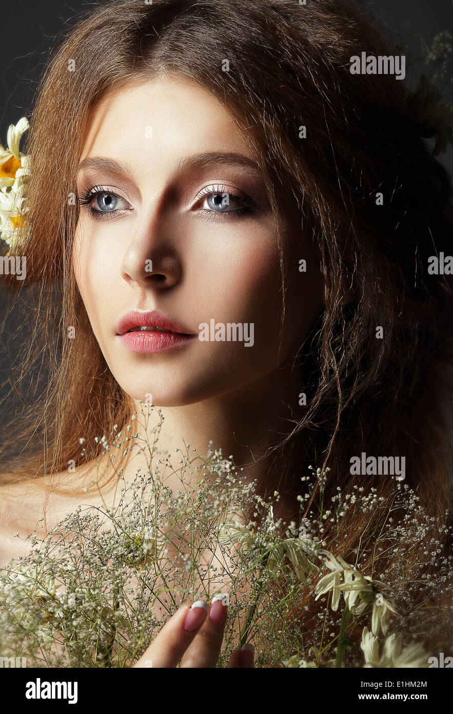 Autumn. Pensive Romantic Brunette with Leafy Withered Herbarium - Stock Image