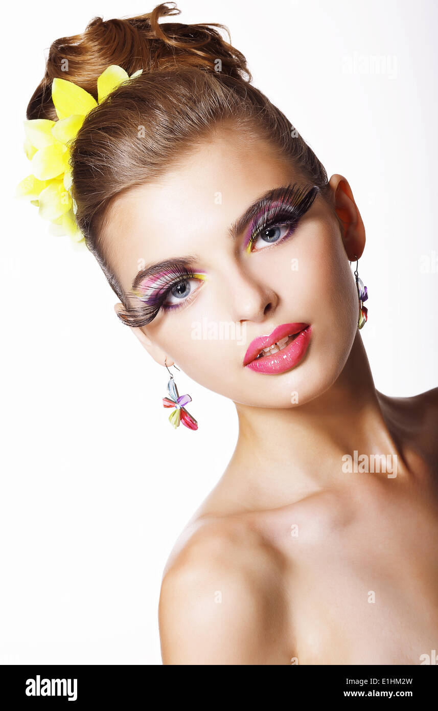 Tendency. Futurism. Showy  Fashion Model with Long Eyelashes - Stock Image