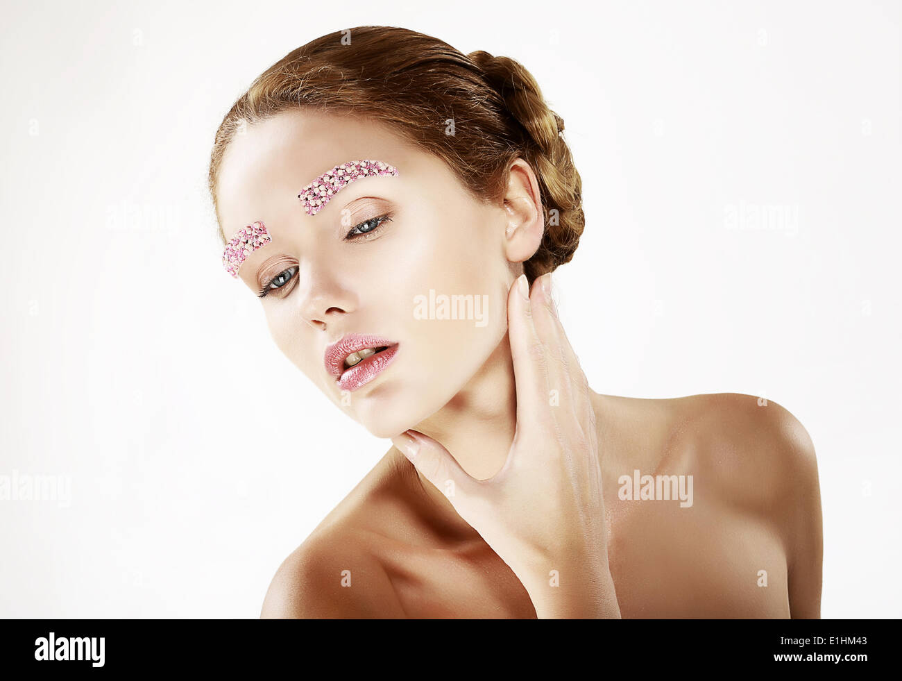 Faceart. Portrait of Young Beauty with Bright Eyebrows - Stock Image