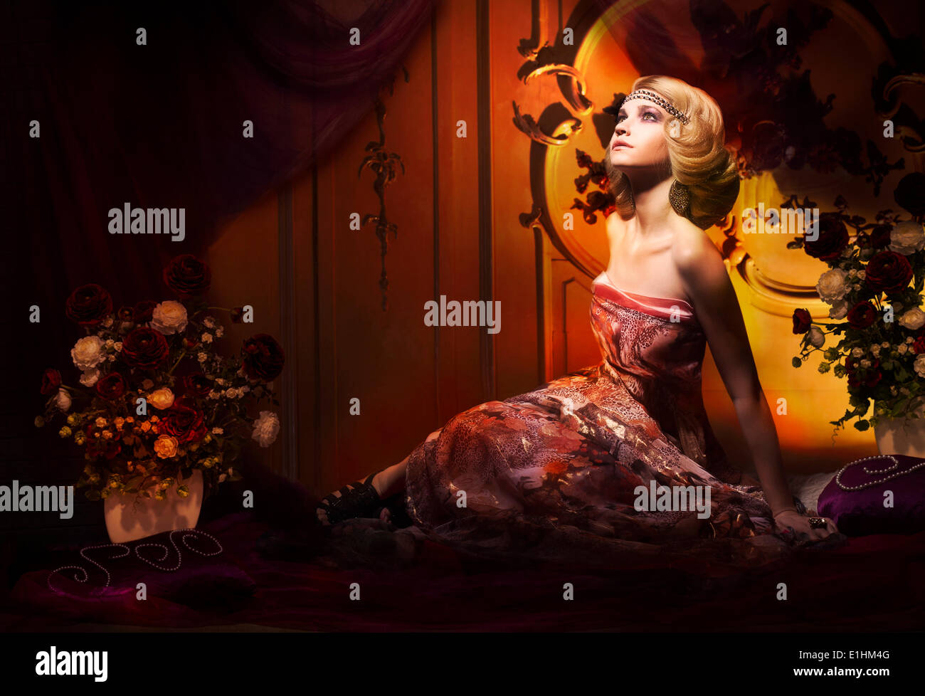 Splendor. Aristocratic Woman in Luxury Vintage Interior Looking Up - Stock Image