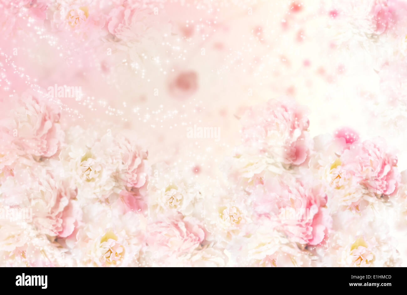 Pink Roses Floral Seamless Pattern. Art Decorative Background. Flowers - Stock Image