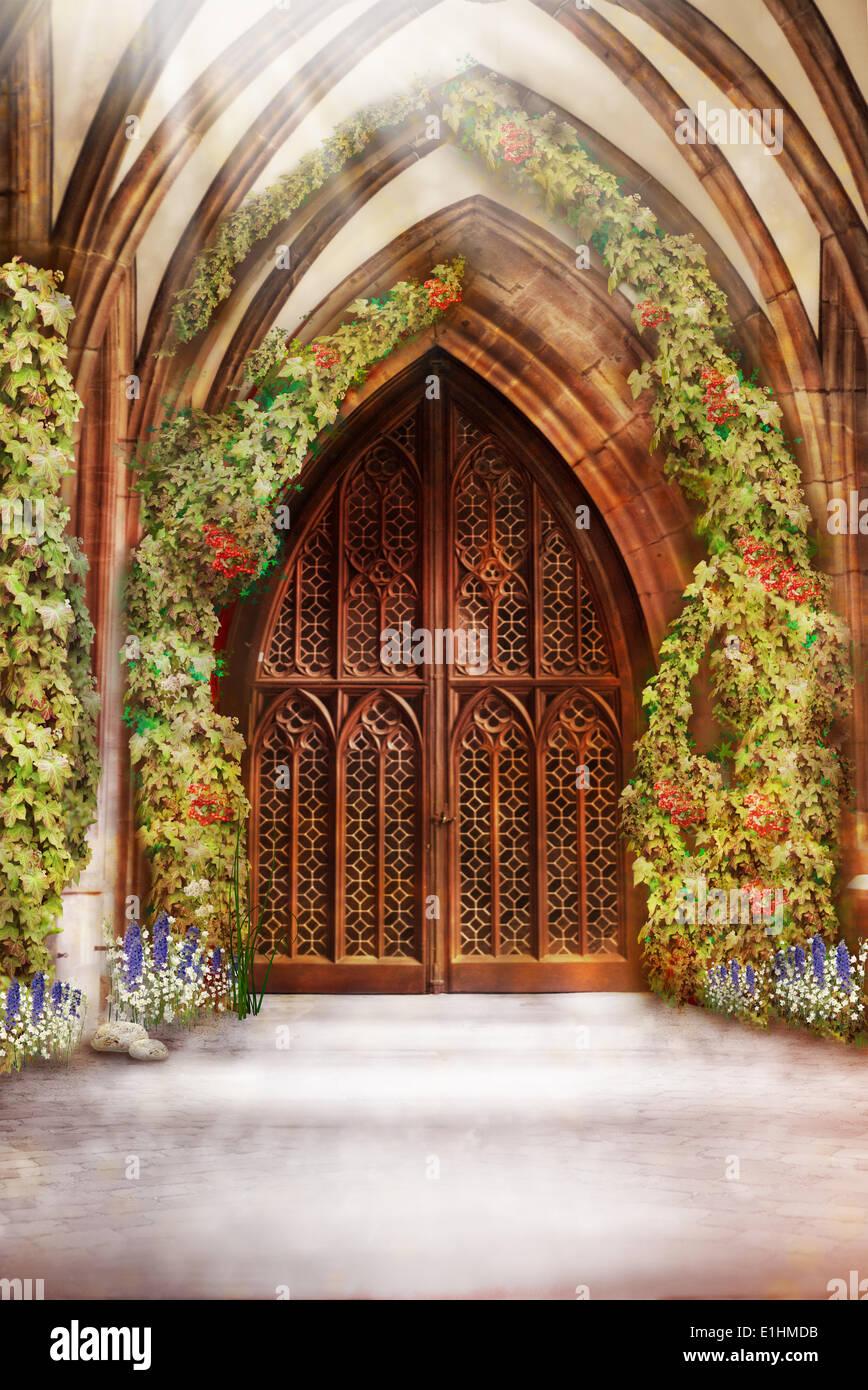 Wooden Church Ancient Door. Antique Retro Archway and Doorway - Stock Image