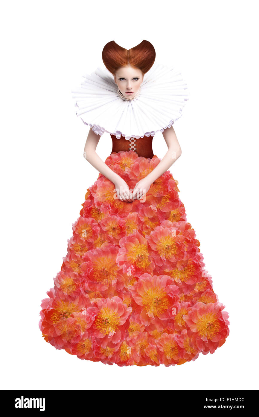 Red Hair Duchess. Retro Fashion Woman in Classic Jabot. Renaissance. Fantasy - Stock Image