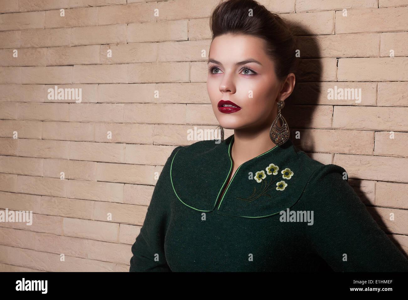 Stylized Cute Lady in Green Dress Portrait - Stock Image