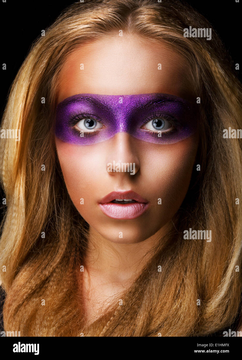 Portrait of Style woman with Vivid Violet Make-up. Rainbow - Stock Image