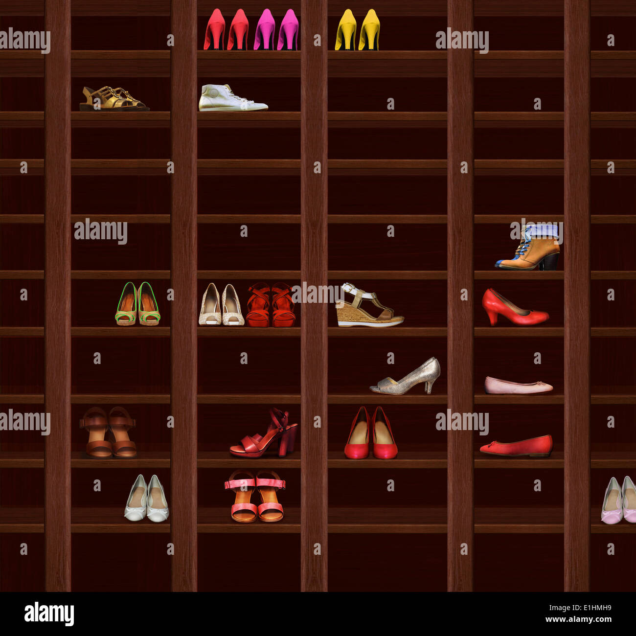 Wardrobe. Brown Wood Shelves with Women's Shoes. Fashion - Stock Image