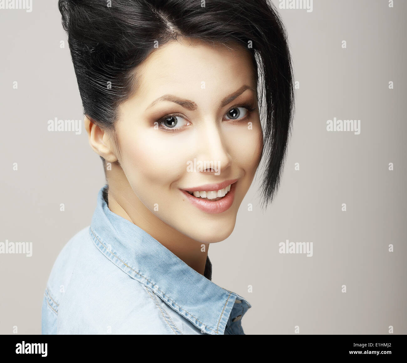 Toothy Smile. Face of Delighted Friendly Woman with Natural Clean Skin. Freshness - Stock Image
