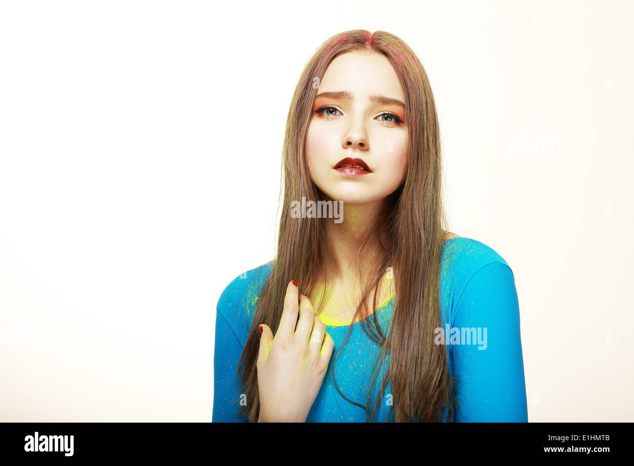 Art. Cute Woman with Modern Colorful Make-up. Fashion Style - Stock Image
