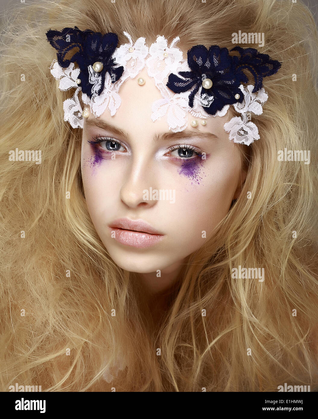 Coloring. Brightly Painted Woman's Skin - Blue Eyeshadow. Meekness. Tenderness - Stock Image