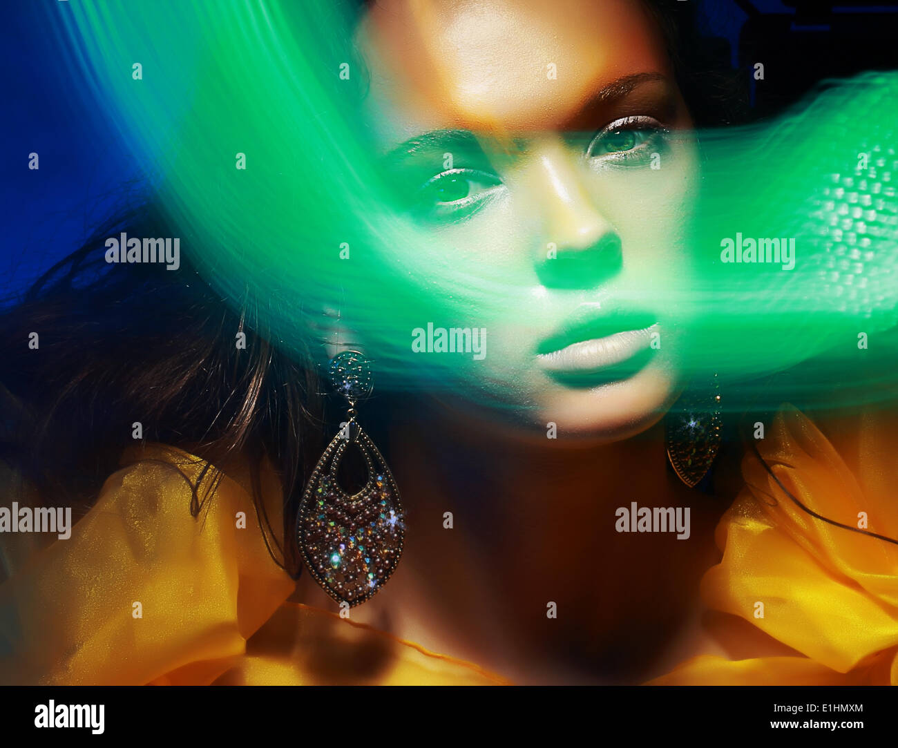 Diffuse. Fantasy. Silhouette of Woman's Face in Magic Disco Fog - Stock Image