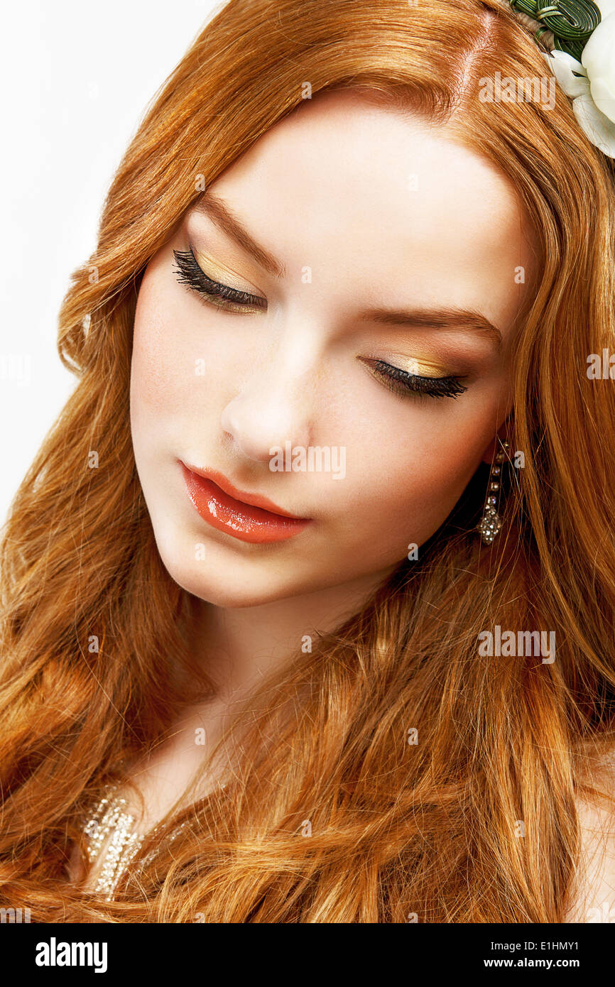 Wellness. Face of Serene Golden Hair Girl with Smooth Clean Healthy Skin. Natural Makeup - Stock Image