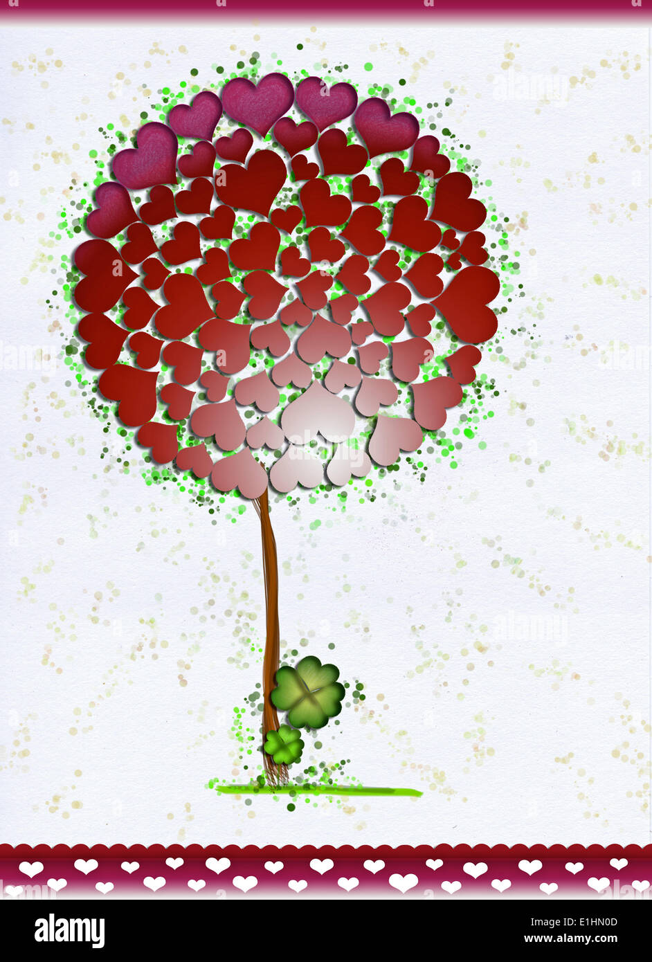 Beautiful Tree with Symbol Hearts - Valentine's or Saint Patrick's Day. Clover Stock Photo