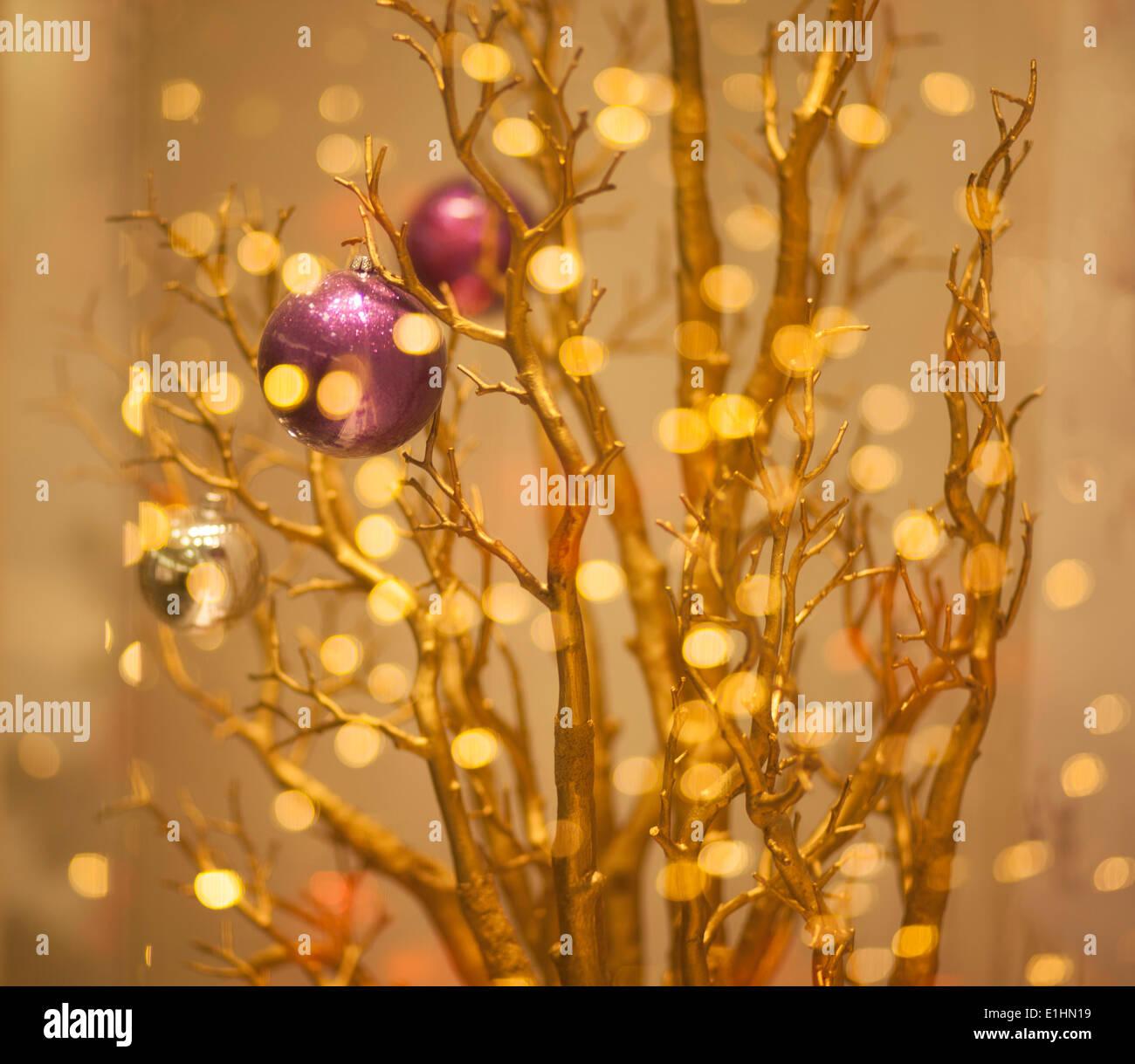 Christmas Tree Decor - Gilded Gold Bokeh Background - Stock Image