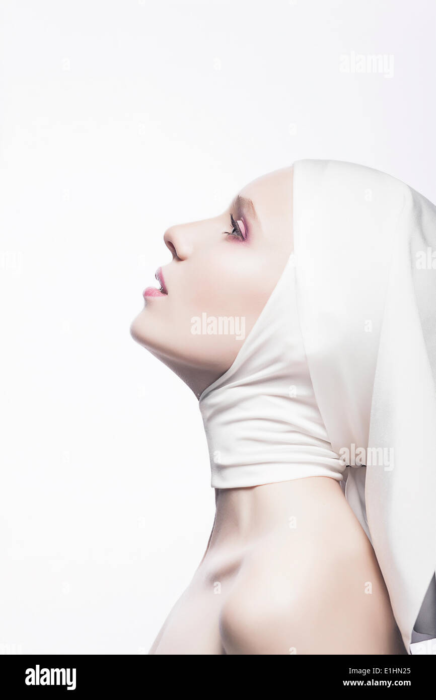 Grace. Cult. Praying Religious Female - Church Concept - Stock Image