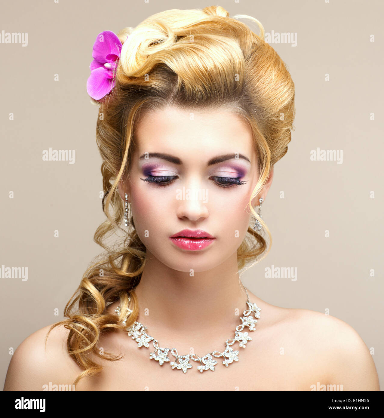 Beauty Lady. Dreaming Woman with Jewelry - Platinum Necklace and Earrings. Tenderness - Stock Image