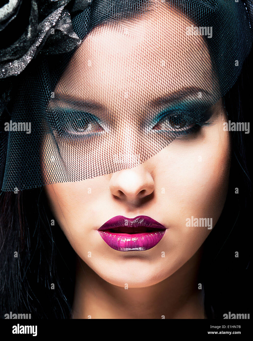 Romance. Portrait of Spectacular Styled Woman in Retro Black Veil - Stock Image