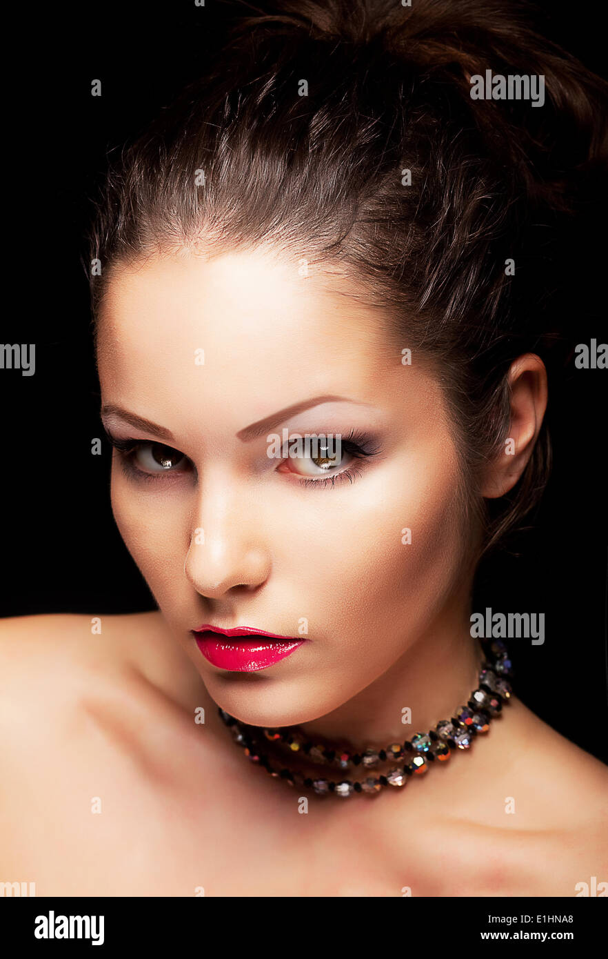 Lordly aristocratic fashionable female looking. Beauty young face - Stock Image
