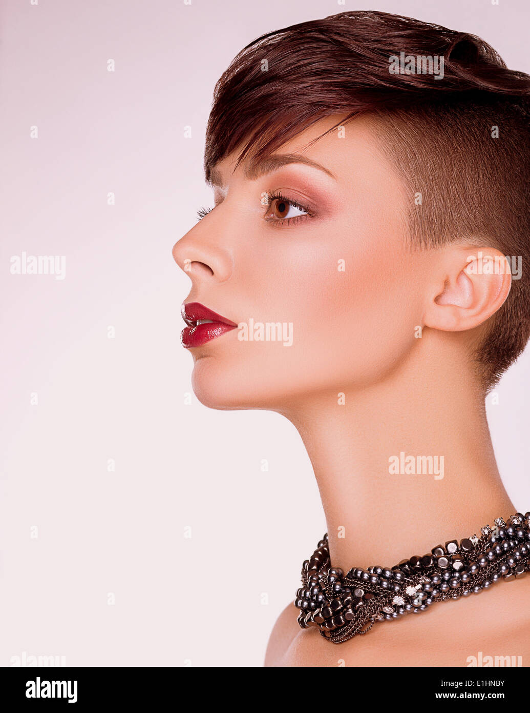 Neatness. Profile of Imposing Short Hair Woman. Bob Haircut - Stock Image