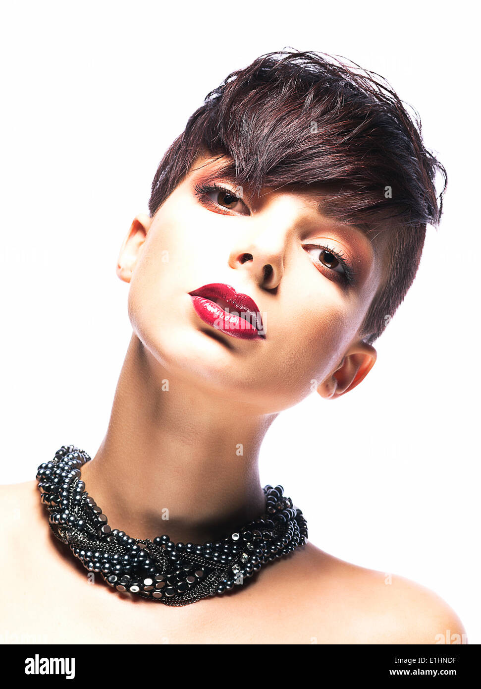 Portrait of Imposing Elegant Woman Brunette with Short Hair. Arrogance & Futurism - Stock Image