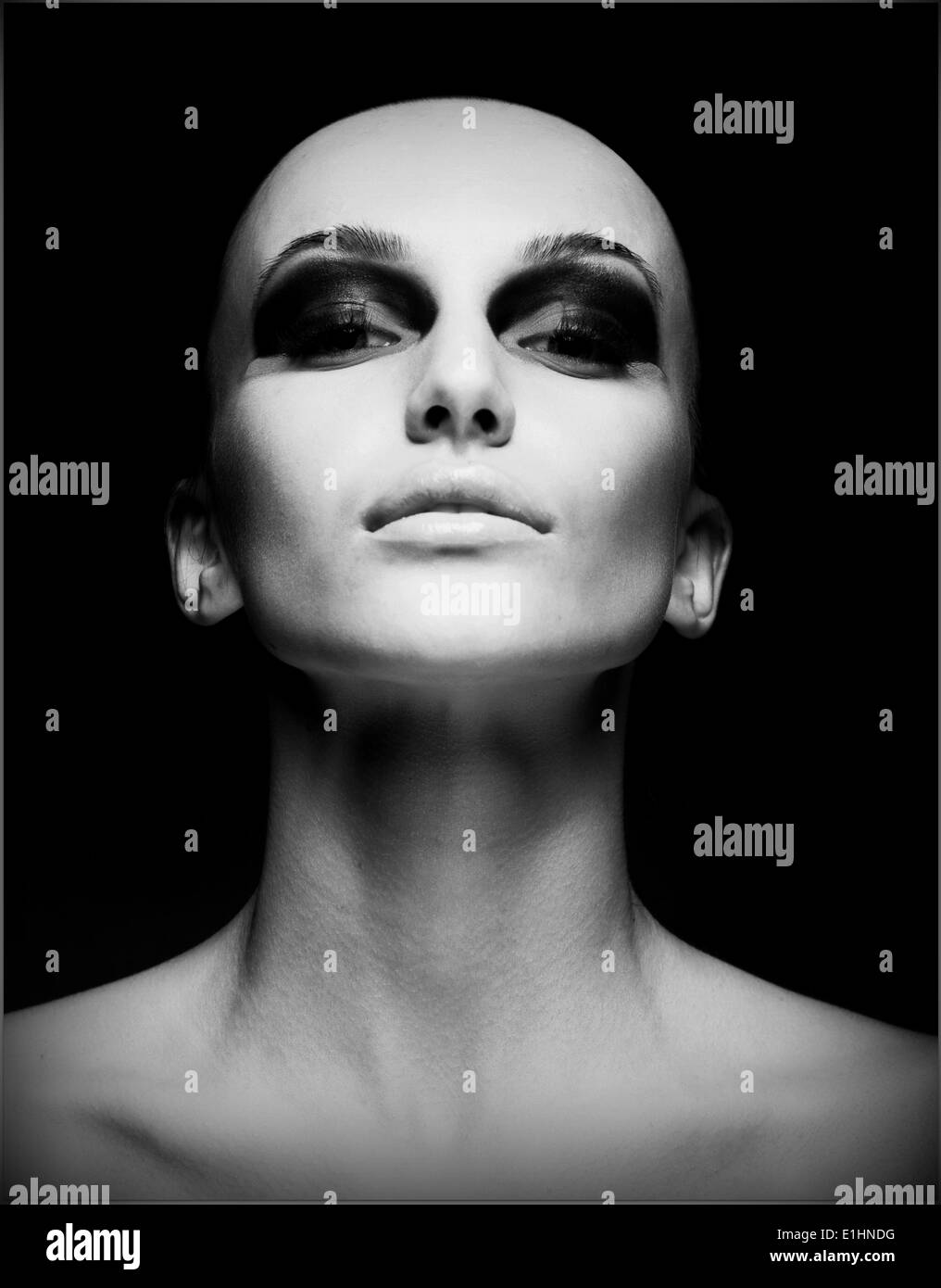 Extreme. Portrait of Eccentric Hairless Woman. Shaved Skull. Futurism - Stock Image