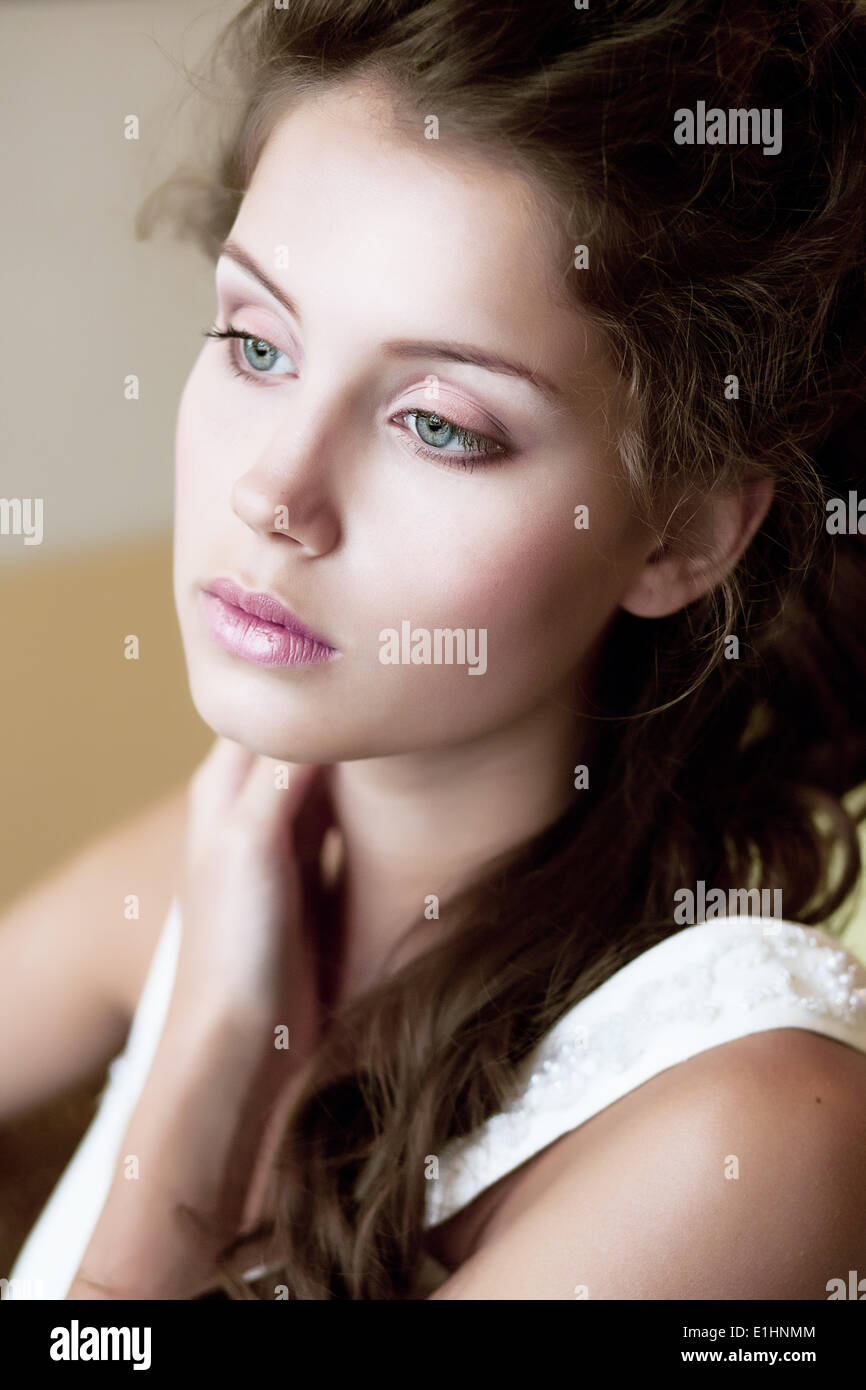 Tenderness. Face of Tranquil Refined Young Woman. Natural Makeup - Stock Image