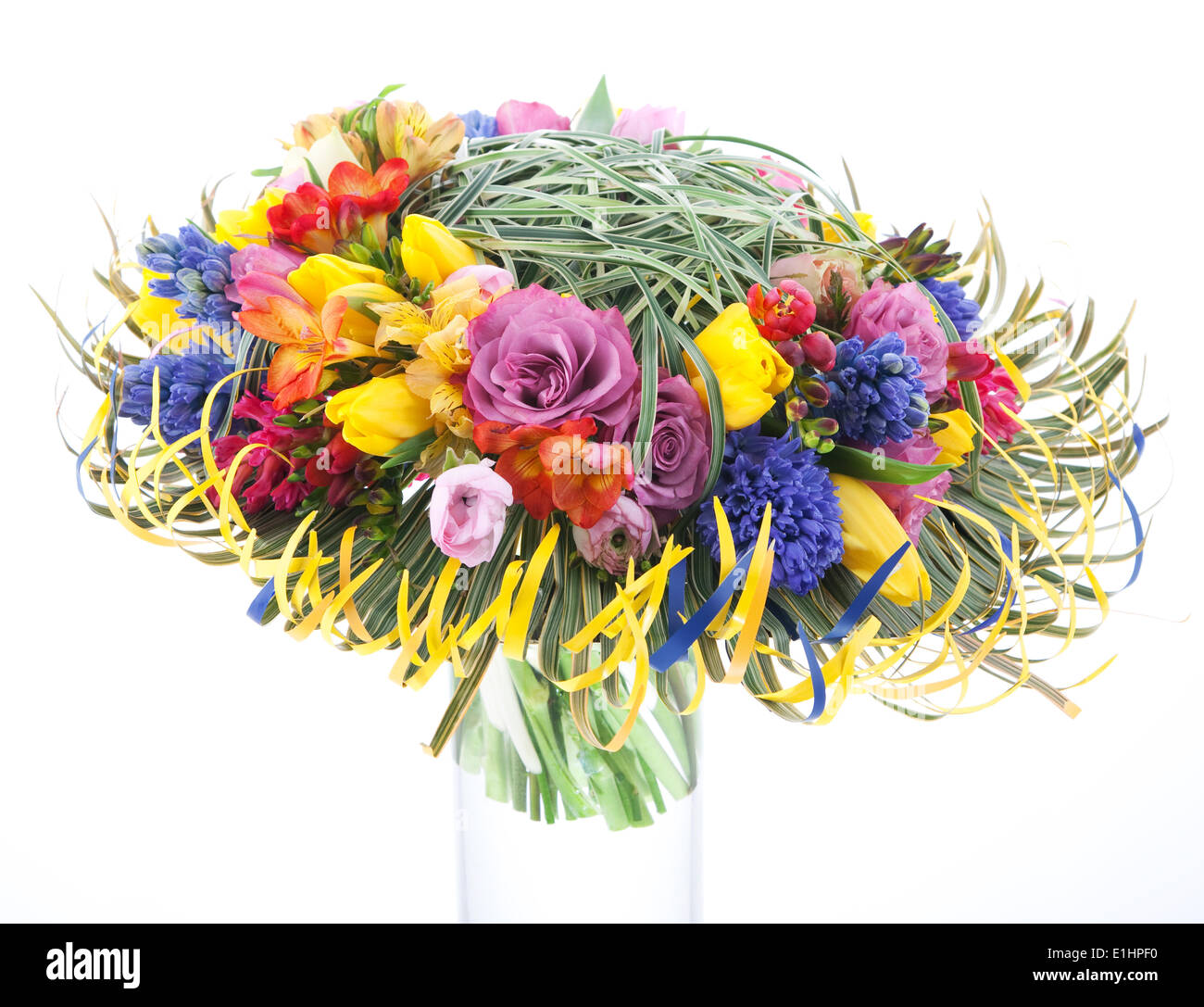 Floristics - colorful bridal bouquet of flowers isolated over white background. Wedding style Stock Photo