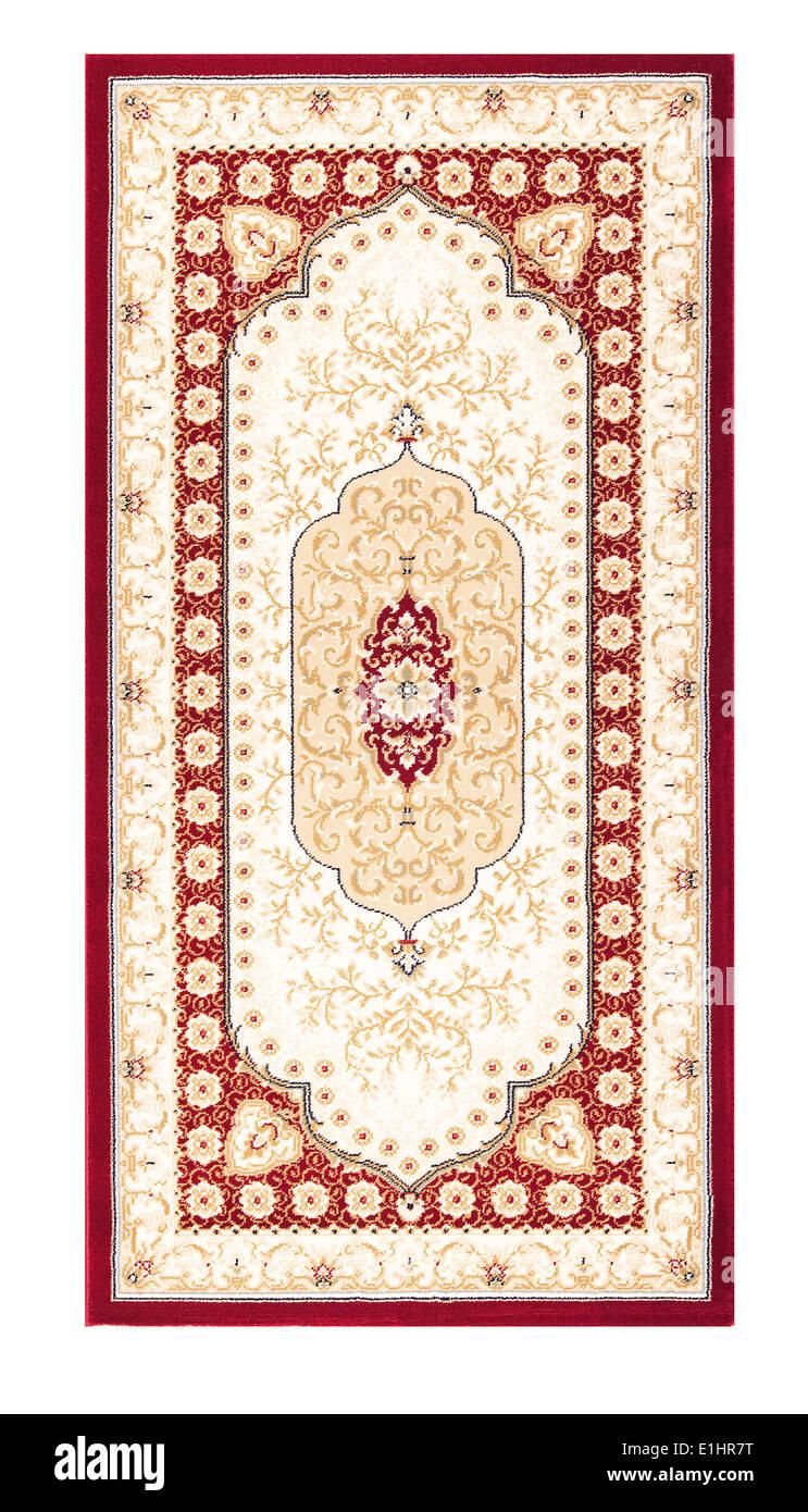 Carpet frame art design - border pattern background on white - Stock Image