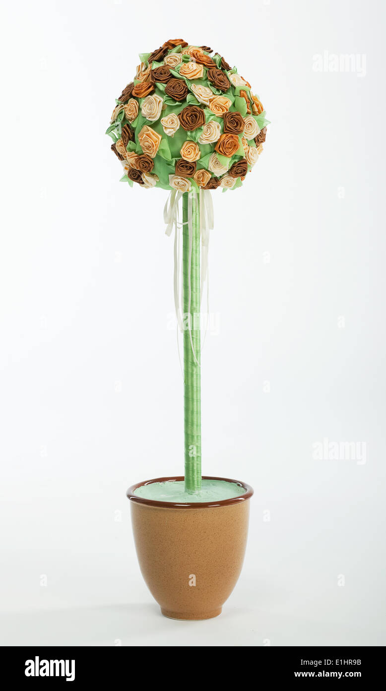Bouquet of colorful roses flowers in a flowerpot on white background - Stock Image