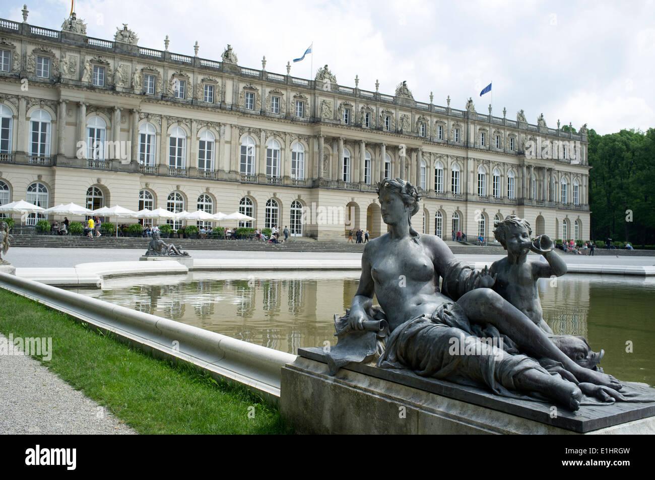 Herrenchiemsee royal palace, Herreninsel, Chiemsee, Bavaria, Germany. - Stock Image