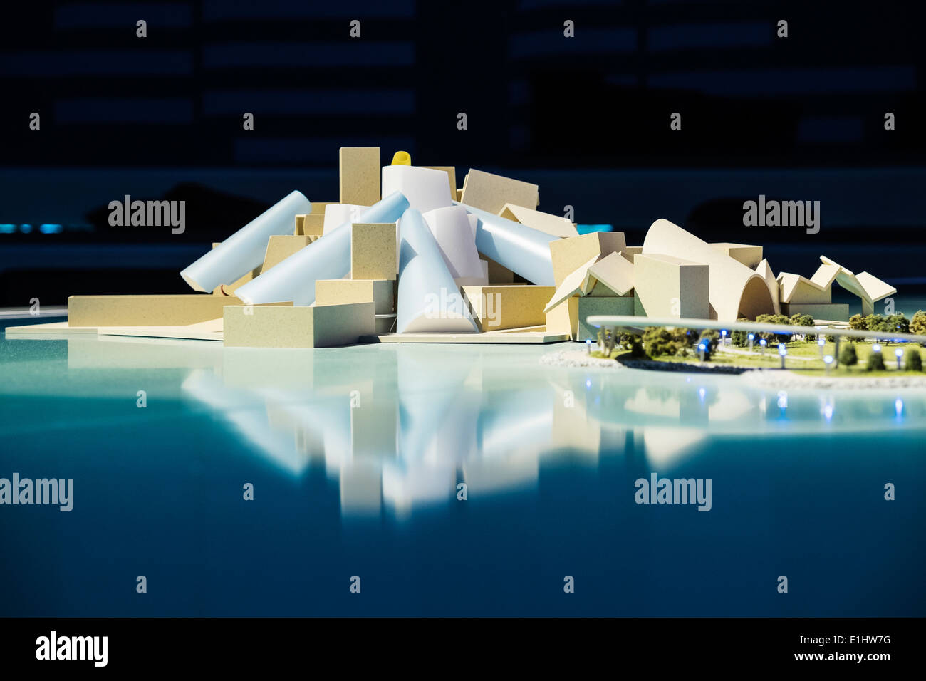 Model of new Guggenheim Museum under construction on Saadiyat Island in Abu Dhabi United Arab Emirates - Stock Image