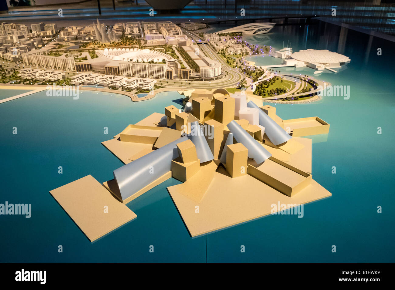 View of master plan with new museums (Guggenheim foreground) for Saadiyat Island in Abu Dhabi United Arab Emirates - Stock Image
