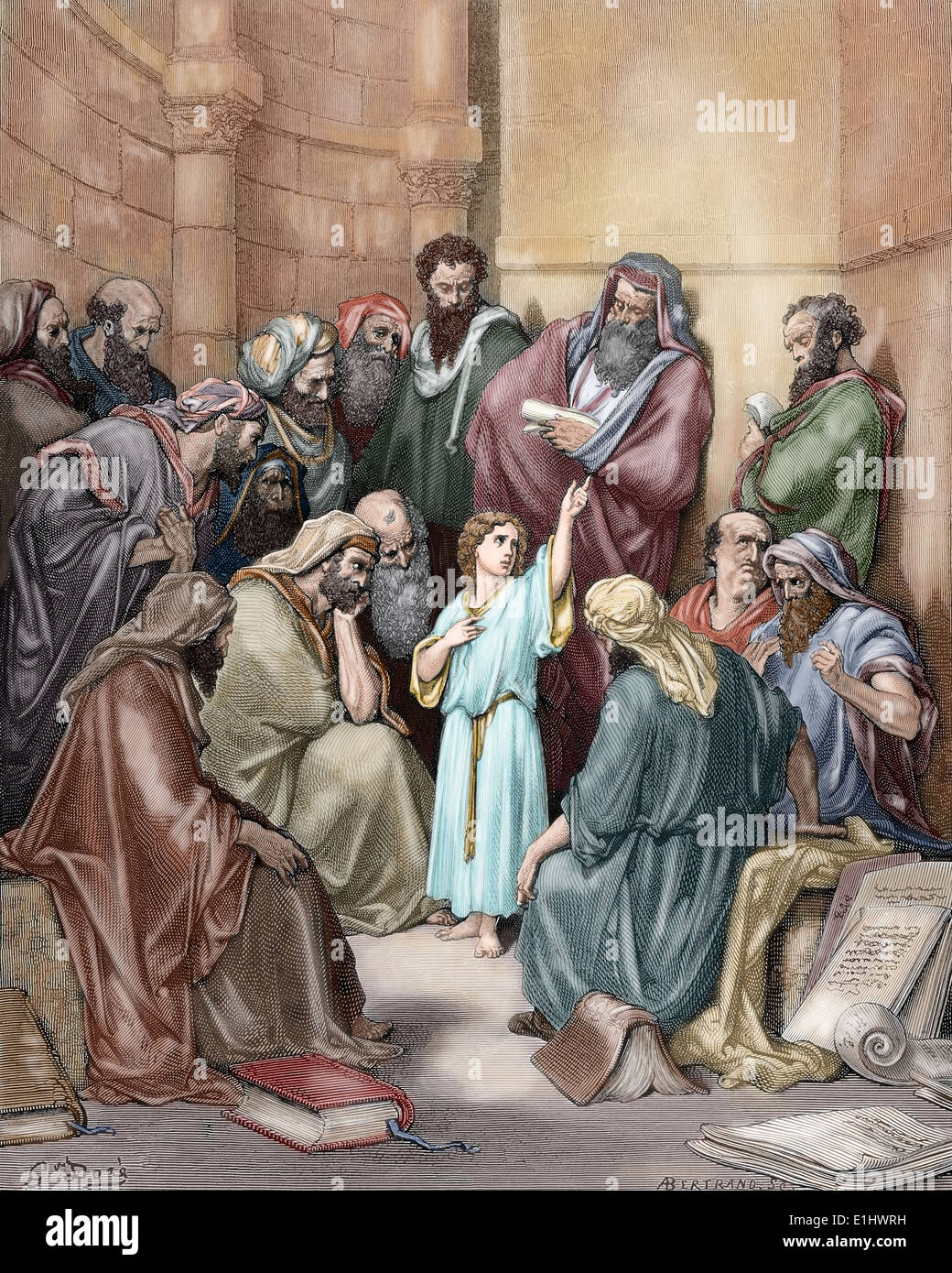 New Testament. Jesus in his childhood among the Doctors. Gospel of Luke. Gustave Dore drawing. Colored. - Stock Image