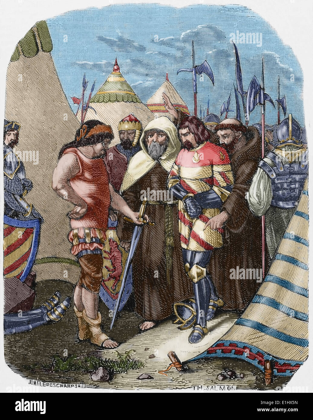 Louis II de la Tremoille (1460-1525). French General deciding to kill the accomplices of the Duke of Orleans. Colored engraving. - Stock Image