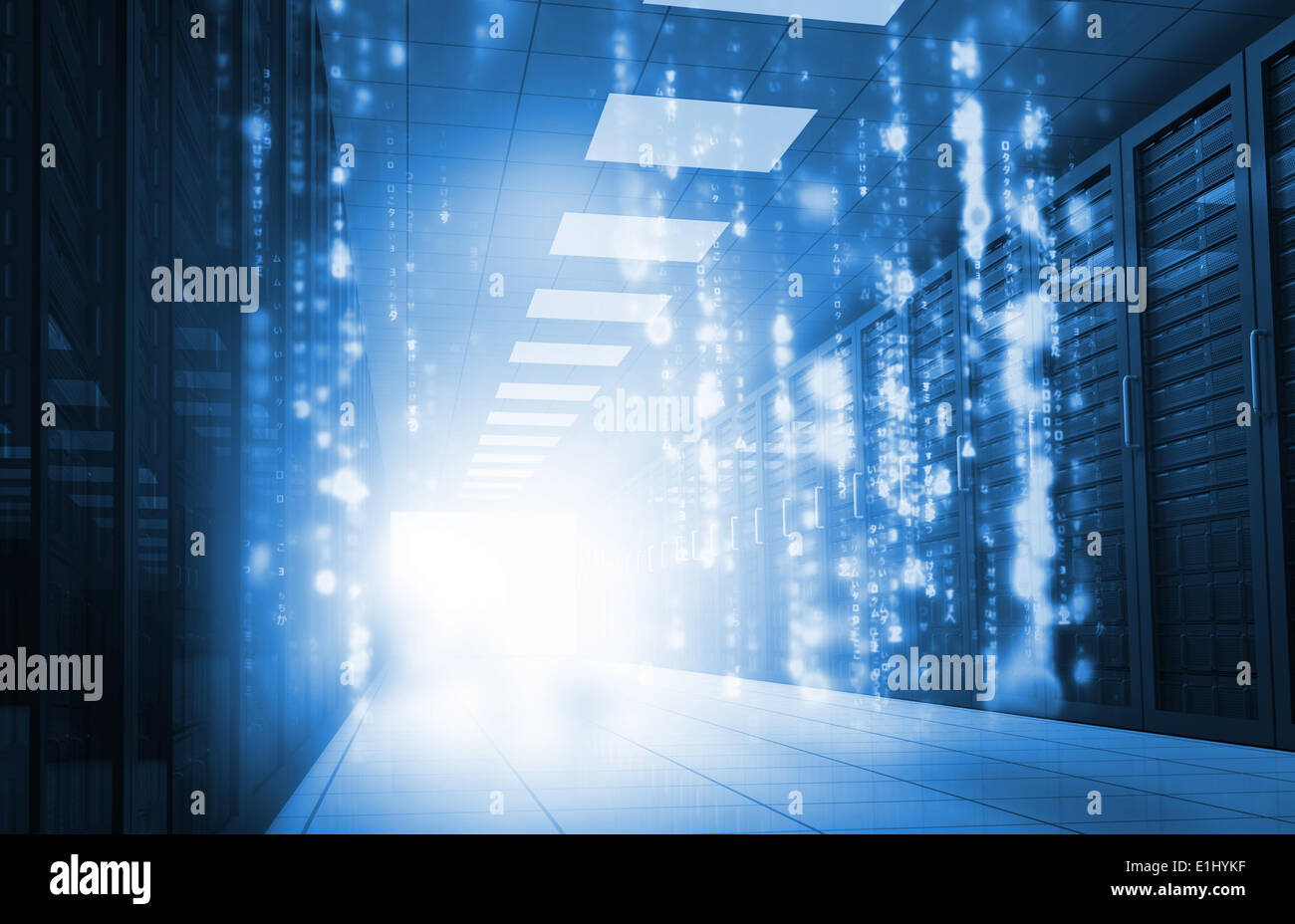 Matrix falling in data center - Stock Image