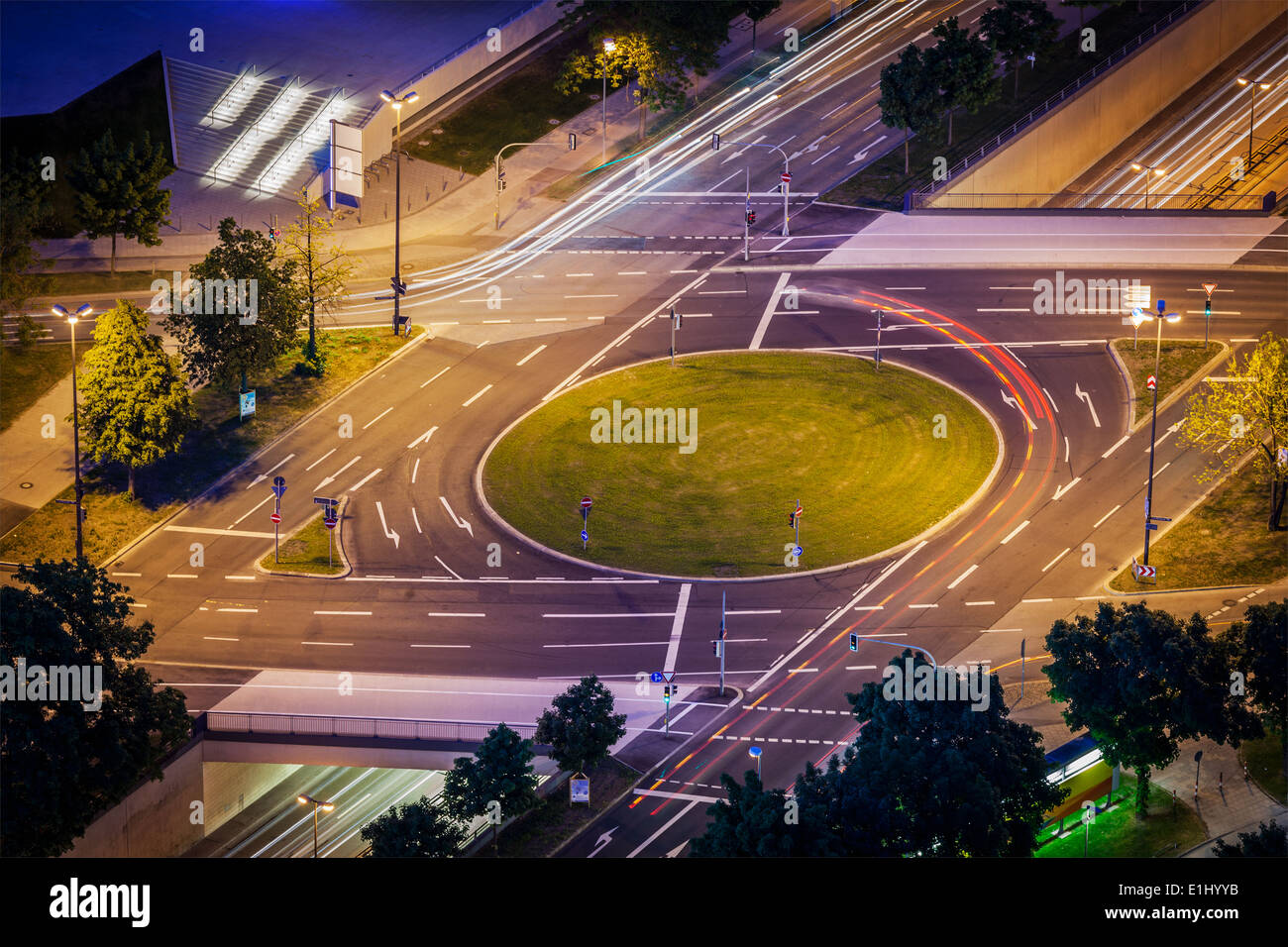 Elevated view of German road junction. Munich, Bavaria, Germany, - Stock Image