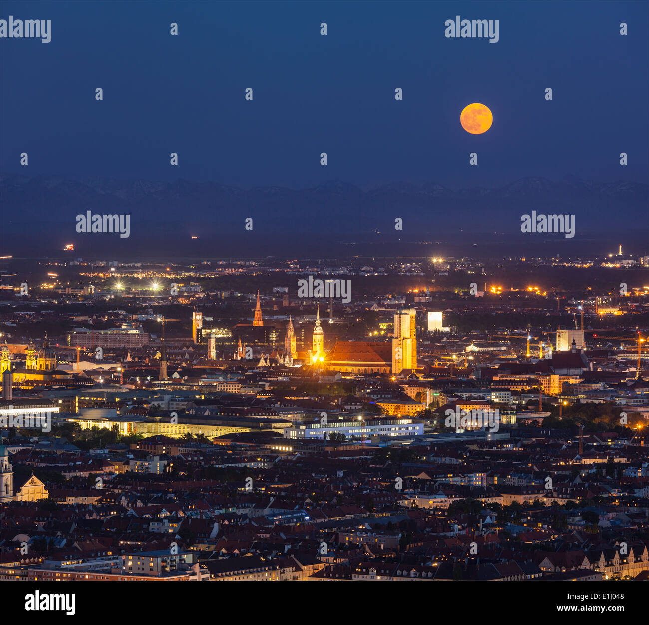 Night aerial view of Munich from Olympiaturm (Olympic Tower). Munich, Bavaria, Germany - Stock Image