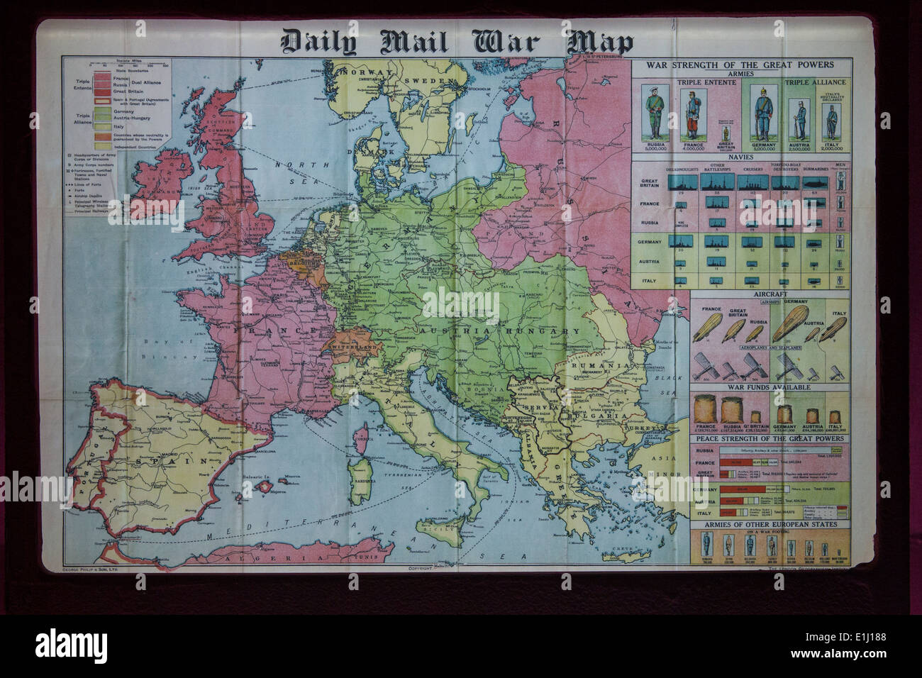 First world war map stock photos first world war map stock images daily mail war map stock image gumiabroncs Images